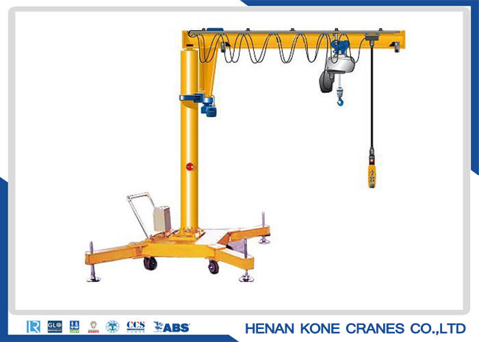 Warehouse 500kg Electric Portable Jib Crane On Wheels
